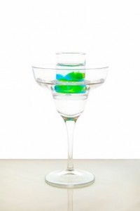 Martini With Shot Of Midori And Blue Curacao Spherification